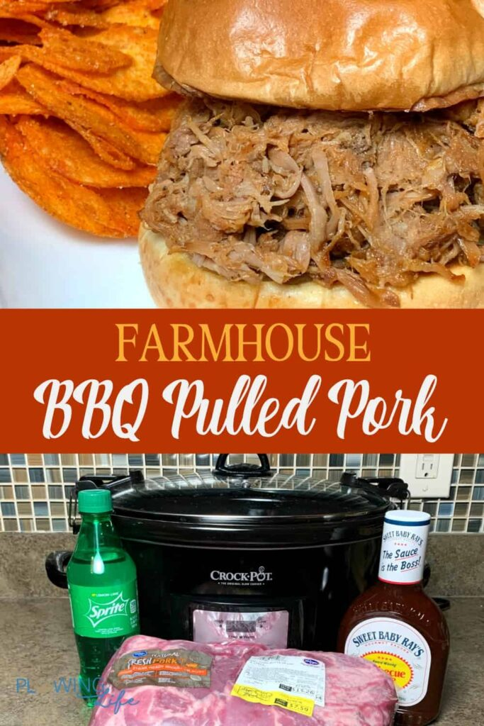 BBQ Pulled Pork Sandwich and collage of ingredients need to make it in the crock pot