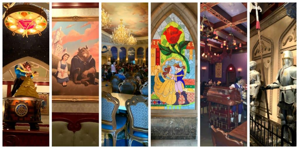 Collage of pictures inside Be Our Guest Restaurant