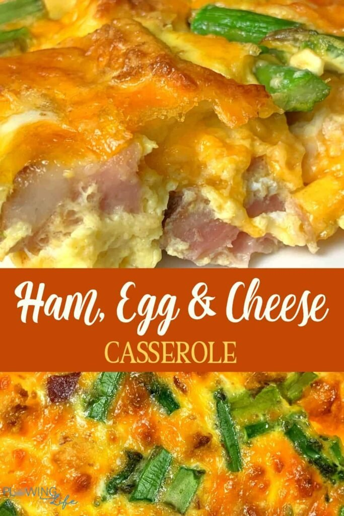 Collage of ham, egg and cheese casserole with asparagus