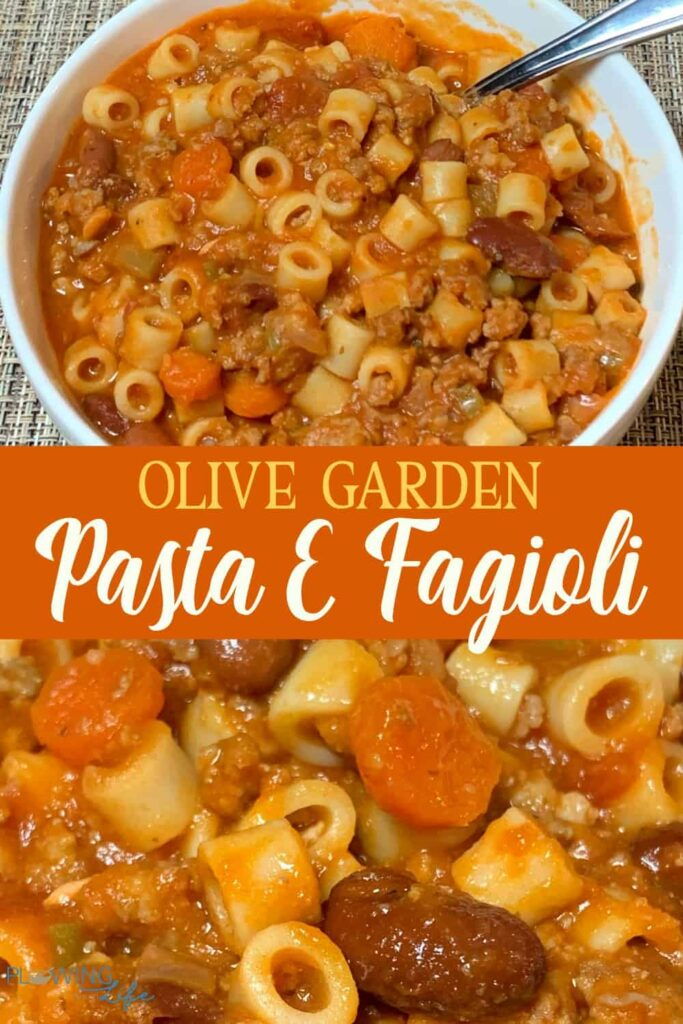 Collage of pictures of Olive Garden Pasta E Fagioli