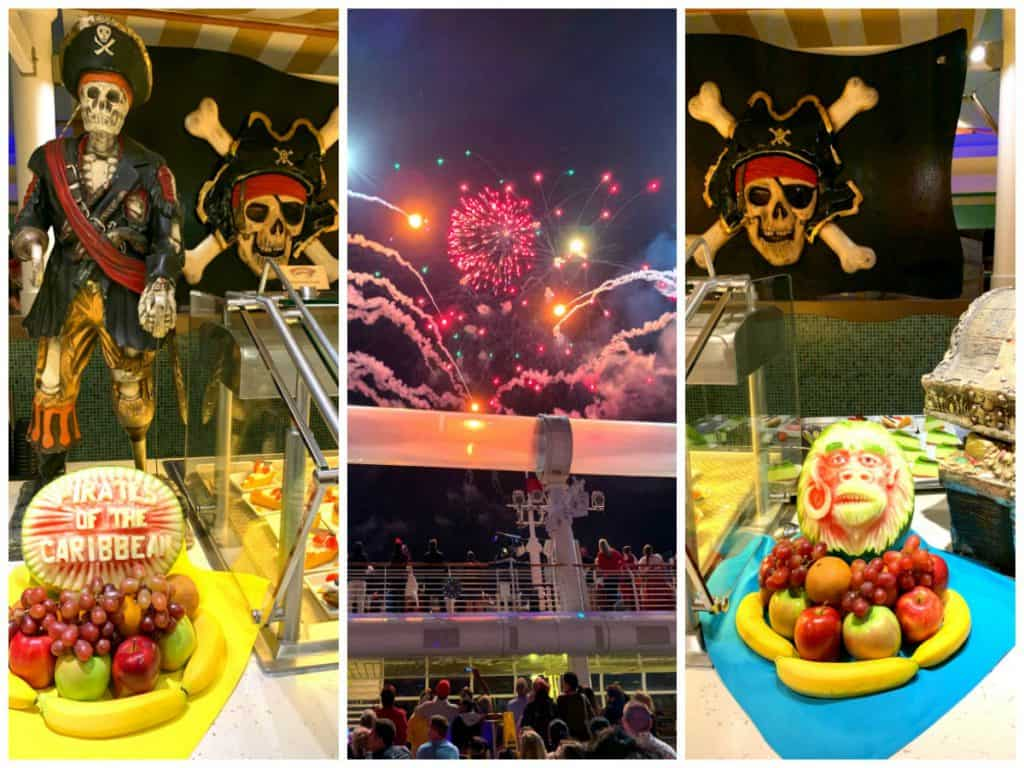 Collage of Pirate Night Buffet & Buccaneer Blast Fireworks on Disney Dream cruise ship