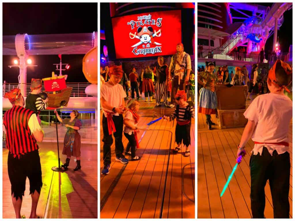 Variety of pirate games on the pool deck of Disney Dream on Pirate Night