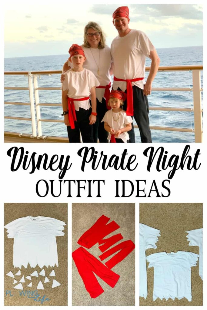 Pirate Night attire ideas made from white t-shirt, red belt and black bottoms