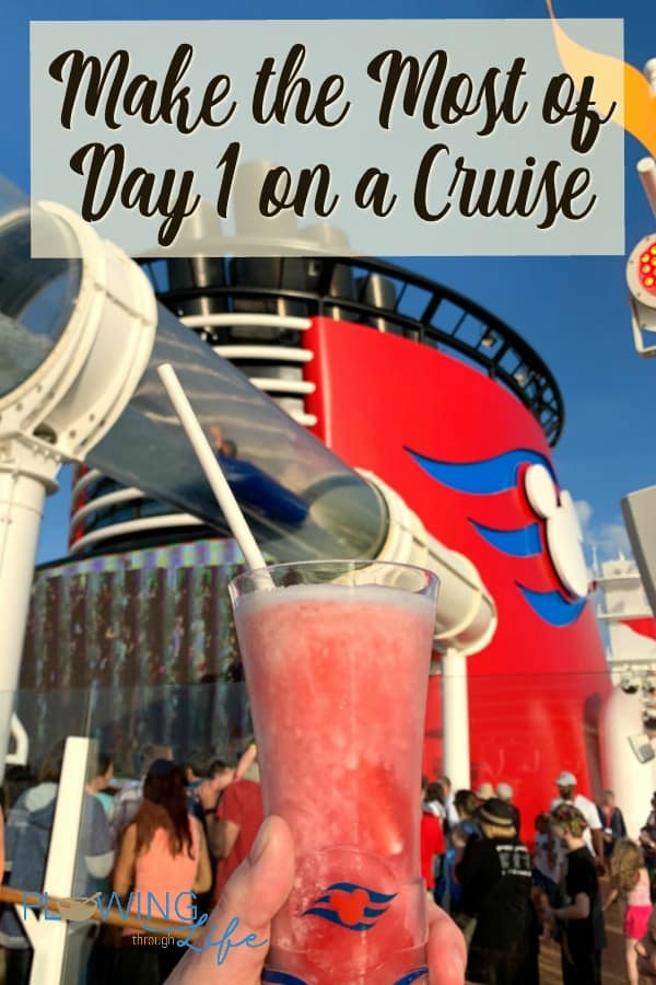 Red smoke stack, aqua duck and frozen drink on Disney Dream cruise ship