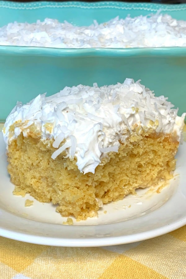 Piece of easy pina colada cake from a box mix without alcohol