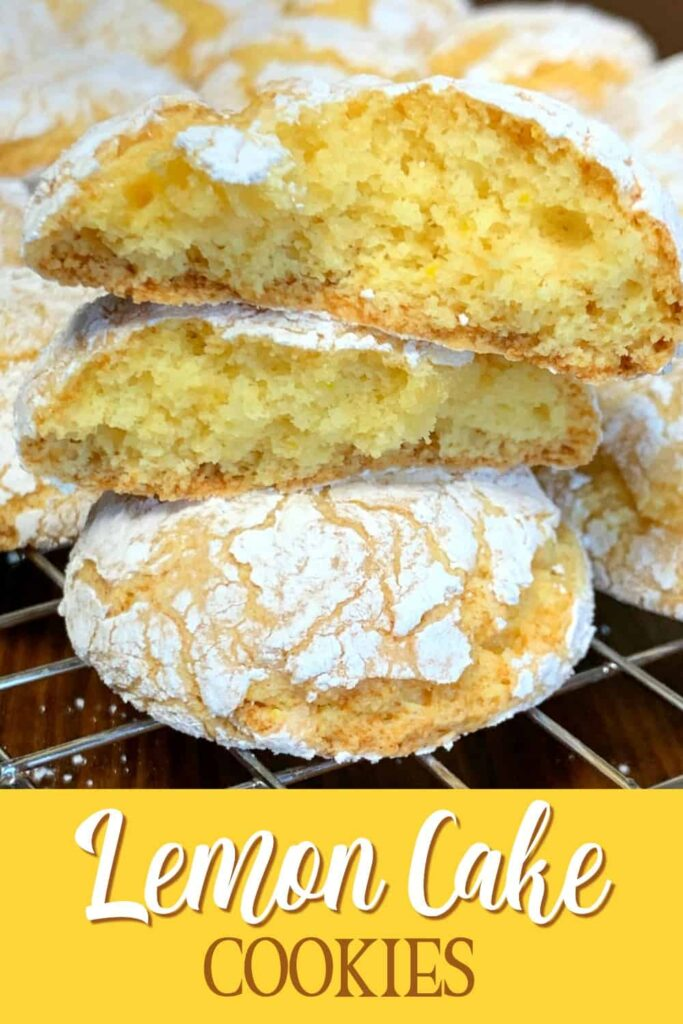 Lemon cake mix cookie broken in half and stacked up