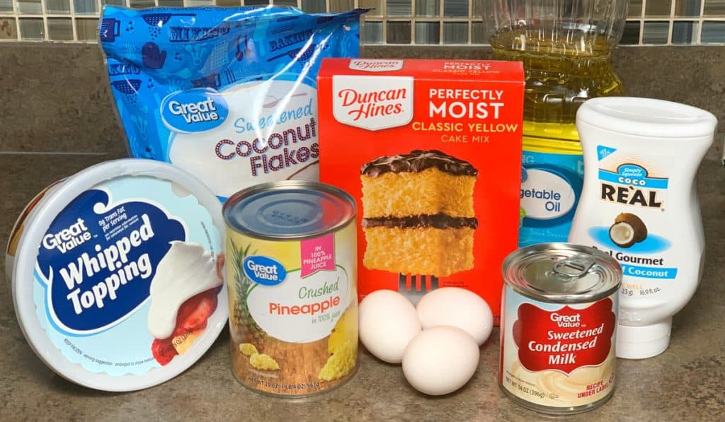 Ingredients needed to make pina colada cake from a box mix