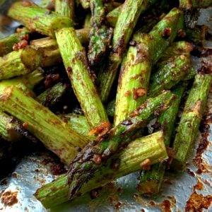 Close up of air fryer asparagus