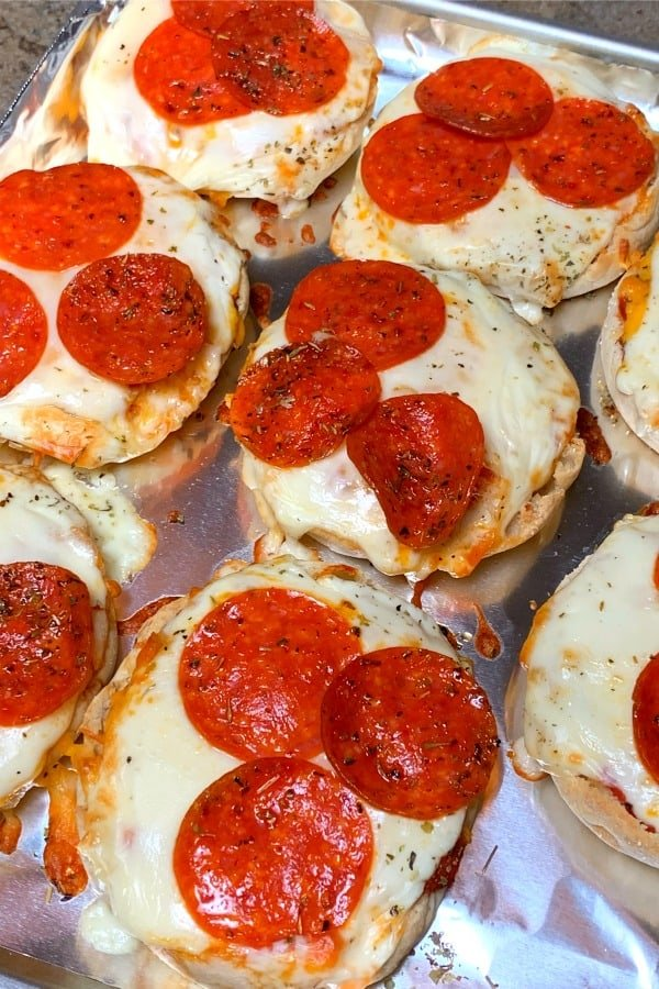 Air fryer tray of mini pizzas
