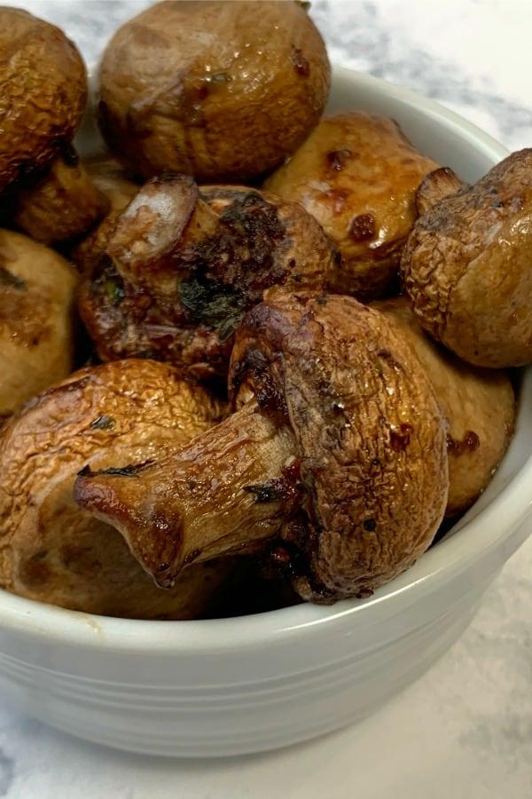 Bowl of garlic roasted mushrooms