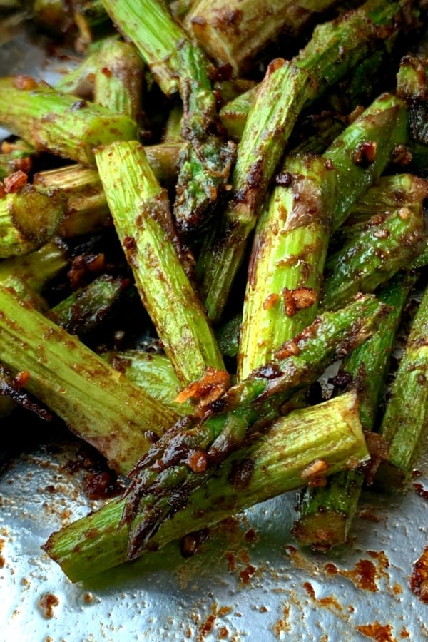 Asparagus chopped up with Asian flavors and made in air fryer