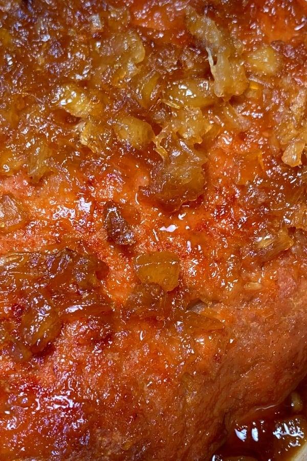 Crushed pineapple and brown sugar glaze on ham loaf