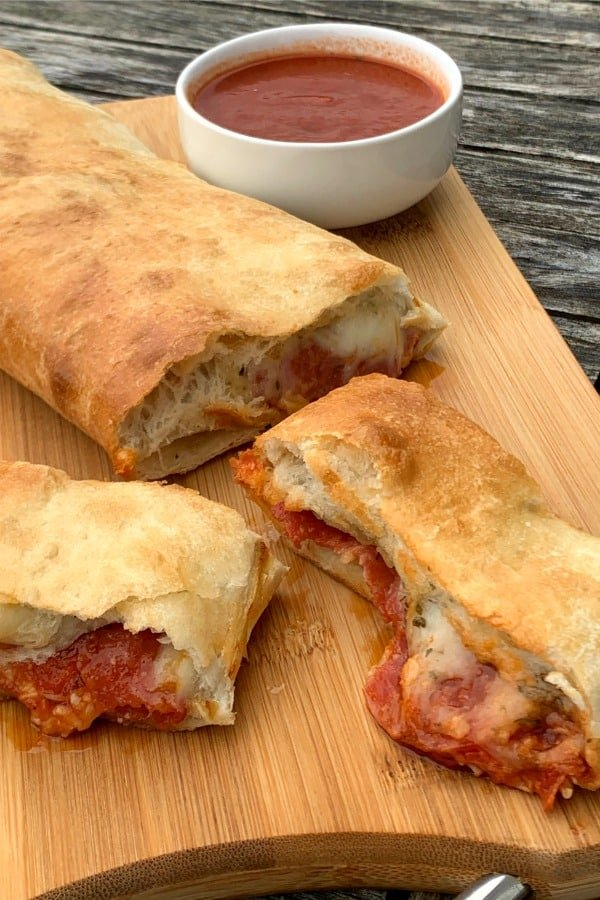 Slices of stromboli from frozen bread dough on cutting board