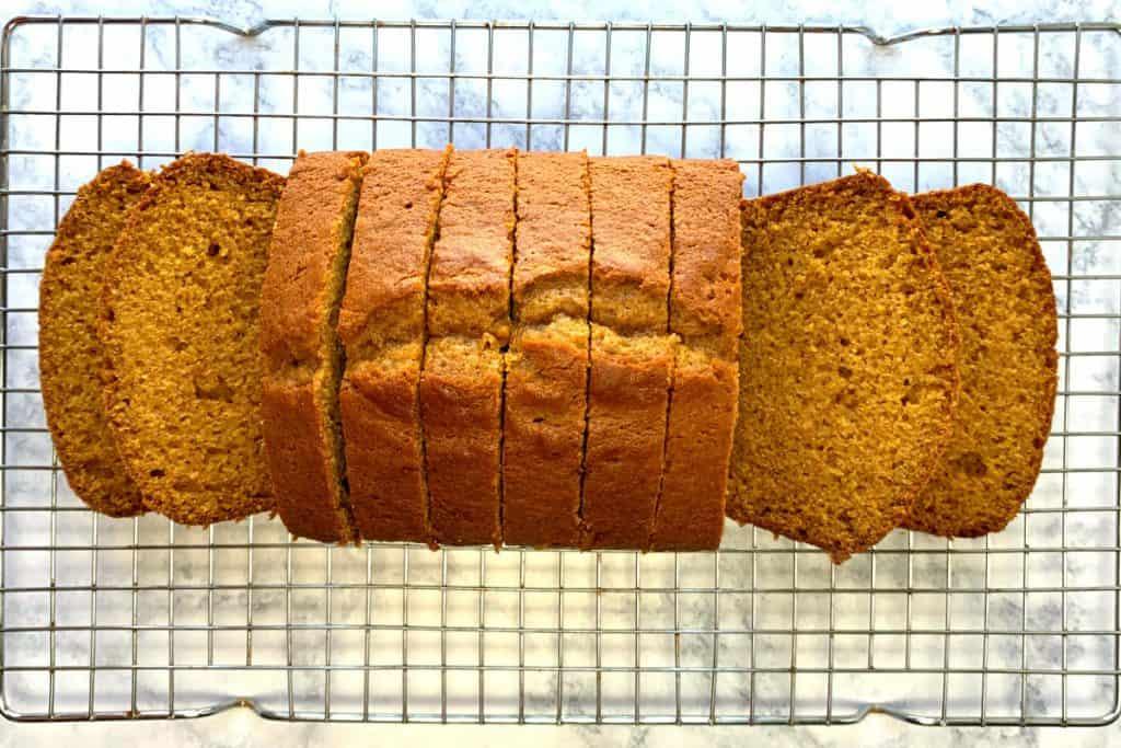 Loaf of homemade farmhouse pumpkin bread