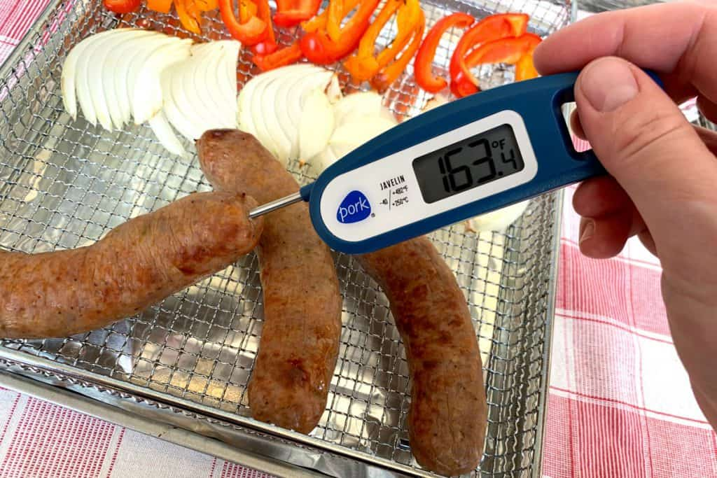Sweet Italian sausage cooked to internal temp of 160 degrees F in air fryer basket