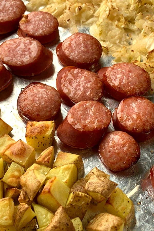 Smoked sausage chunks with sauerkraut and potatoes cooked in air fryer