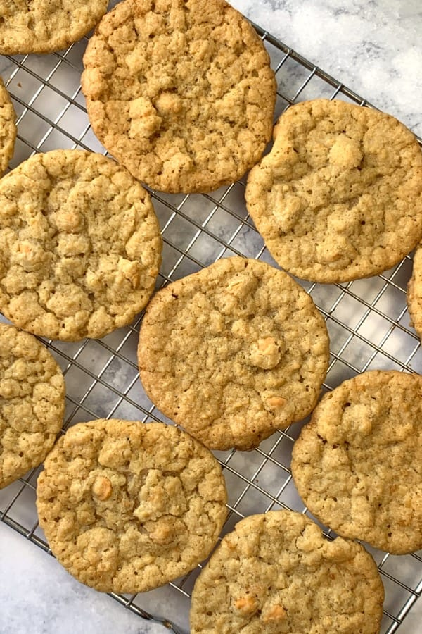 Butterscotch Chip Cookies on wire cooling rack