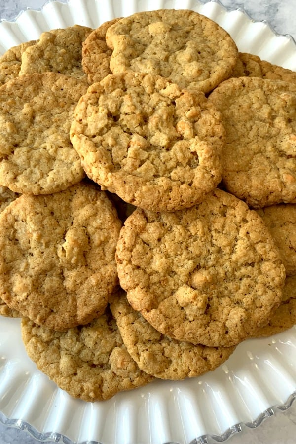 Easy Butterscotch Cookies on white serving platter