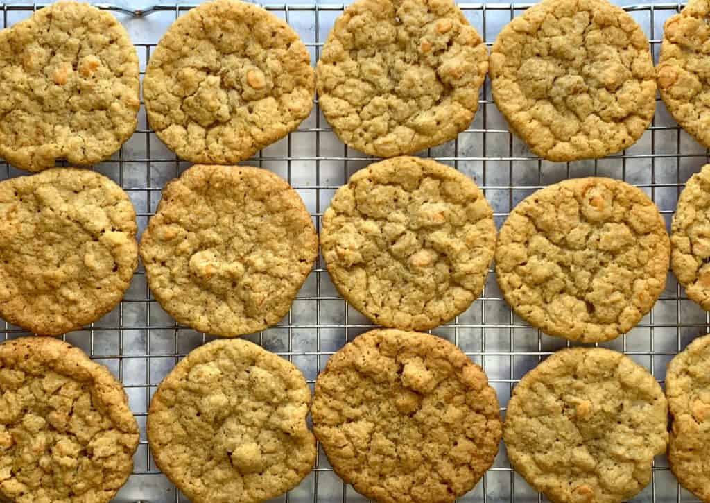 Butterscotch Oatmeal Cookies with butterscotch chips on baking rack