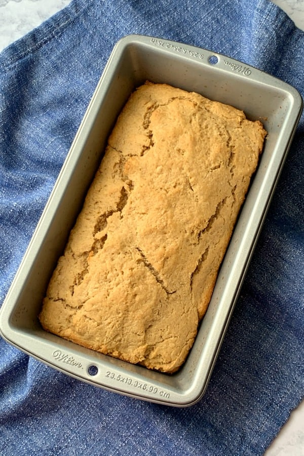 Traditional peanut butter bread in a loaf pan