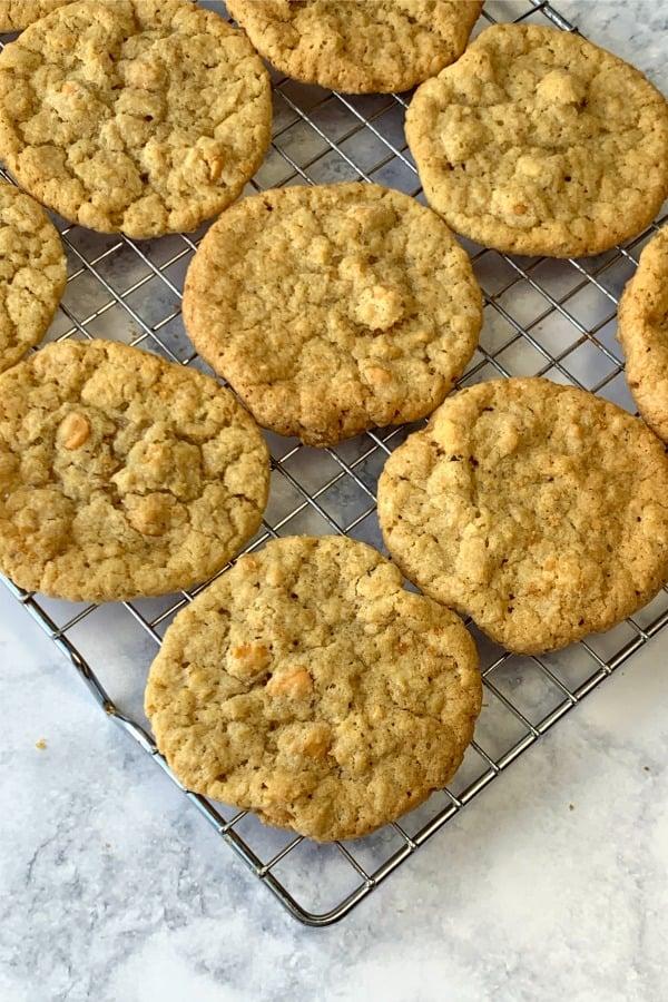 Oatmeal Butterscotch Cookies on baking rack