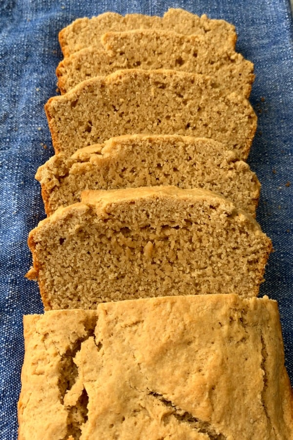 Old-fashioned sliced peanut butter bread on a blue napkin