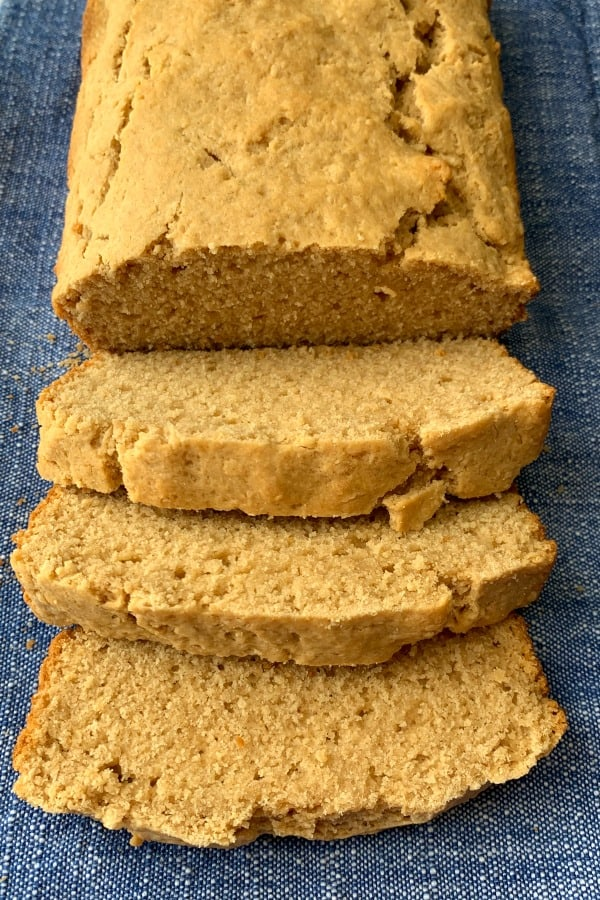 Sliced Peanut Butter Bread laying on a blue napkin