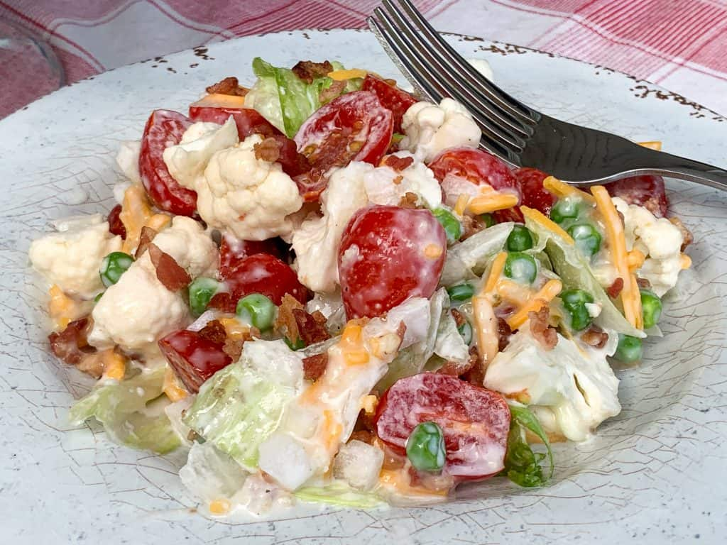 Plate of overnight layered salad