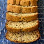 Banana Pecan Bread sliced on a baking rack