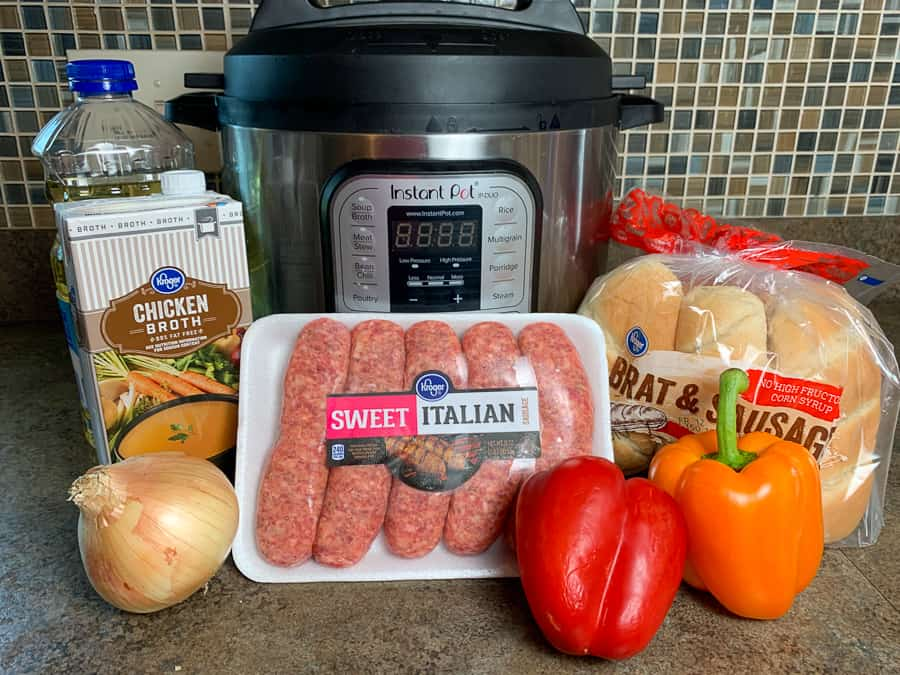 Ingredients needed to make easy Instant pot Italian sausage, peppers and onions