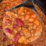 Ladle full of ground beef crock pot chili
