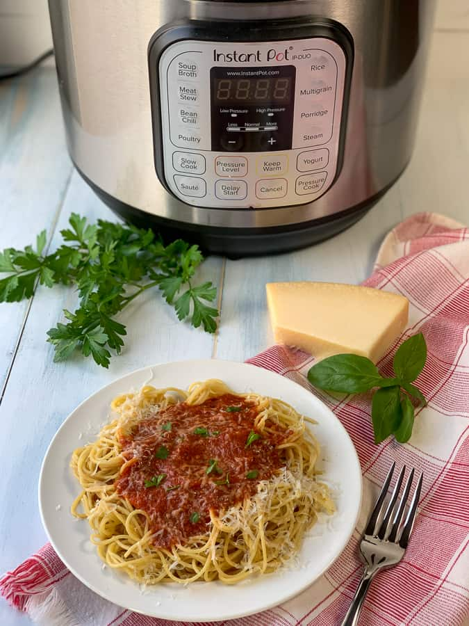 Plate of spaghetti with homemade sauce by Instant Pot