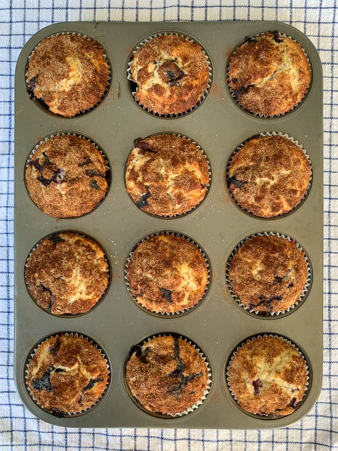Muffin tin full of baked blueberry banana oatmeal muffins on blue plaid napkin