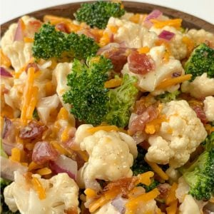 Easy broccoli, cauliflower and bacon salad in a bowl