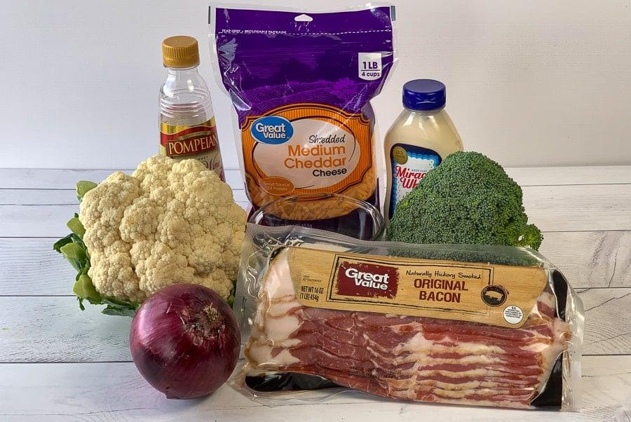 Ingredients needed to make broccoli cauliflower salad
