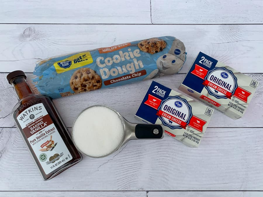 Ingredients needed to make chocolate chip cheesecake cookie bars
