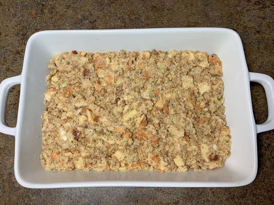 9 x 13 pan of dressing with bread cubes before being baked
