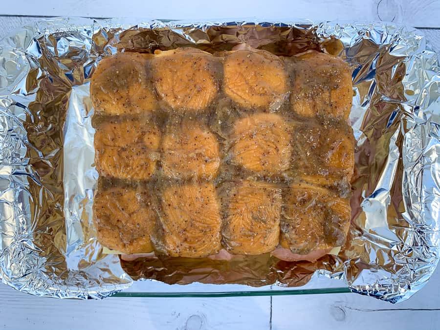 Sweet brown sugar glaze on Hawaiian roll ham sliders
