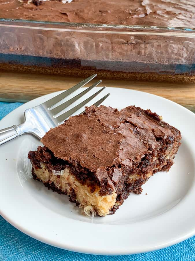 Coconut stuffed brownies from a box mix next to 9 x 13 pan