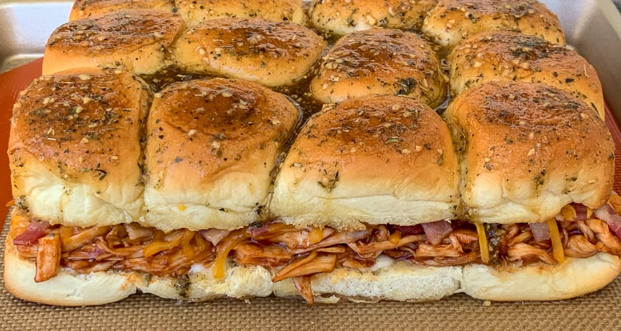 Layer of baked chicken, bacon, ranch sliders