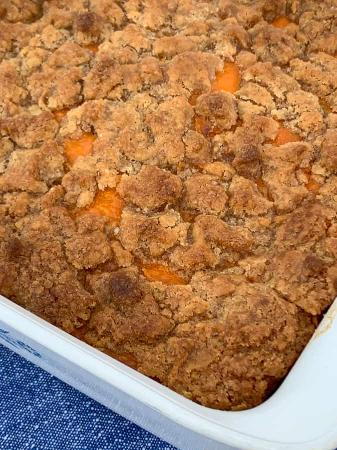 Sweet brown sugar topping baked on a simple sweet potato souffle