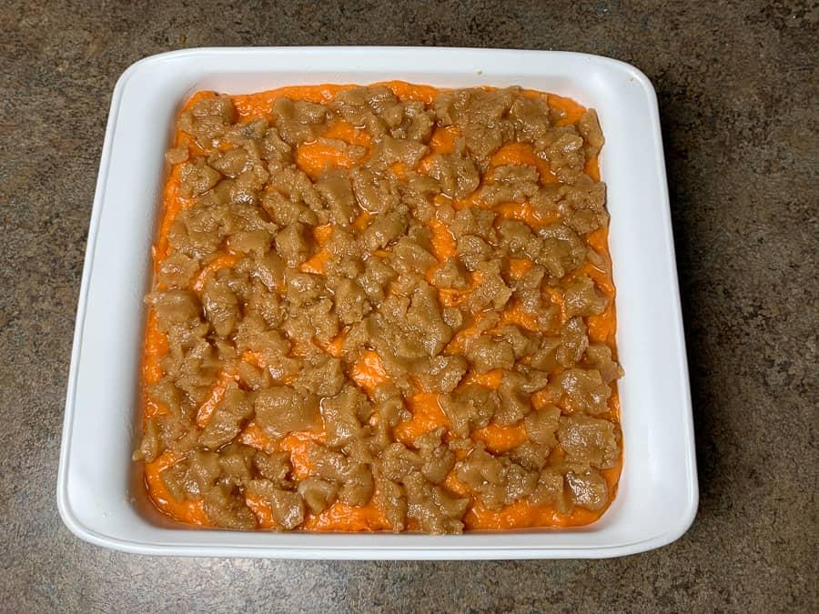Sweet potato souffle in 8x8 baking dish
