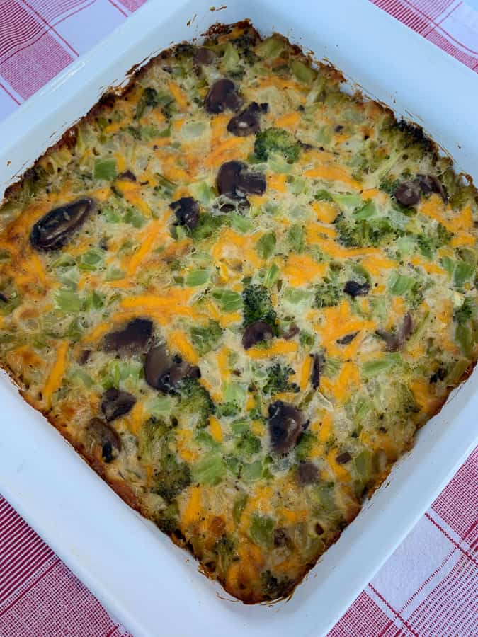 Baked broccoli and mushroom casserole