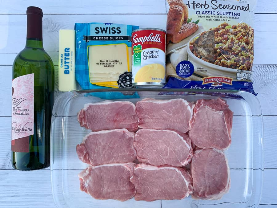 Ingredients to make pork chop casserole with stuffing
