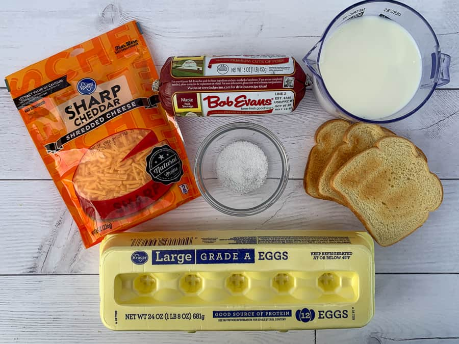 Ingredients used to make egg and sausage casserole