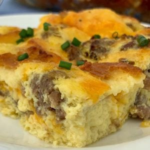 Piece of egg, cheese and sausage casserole