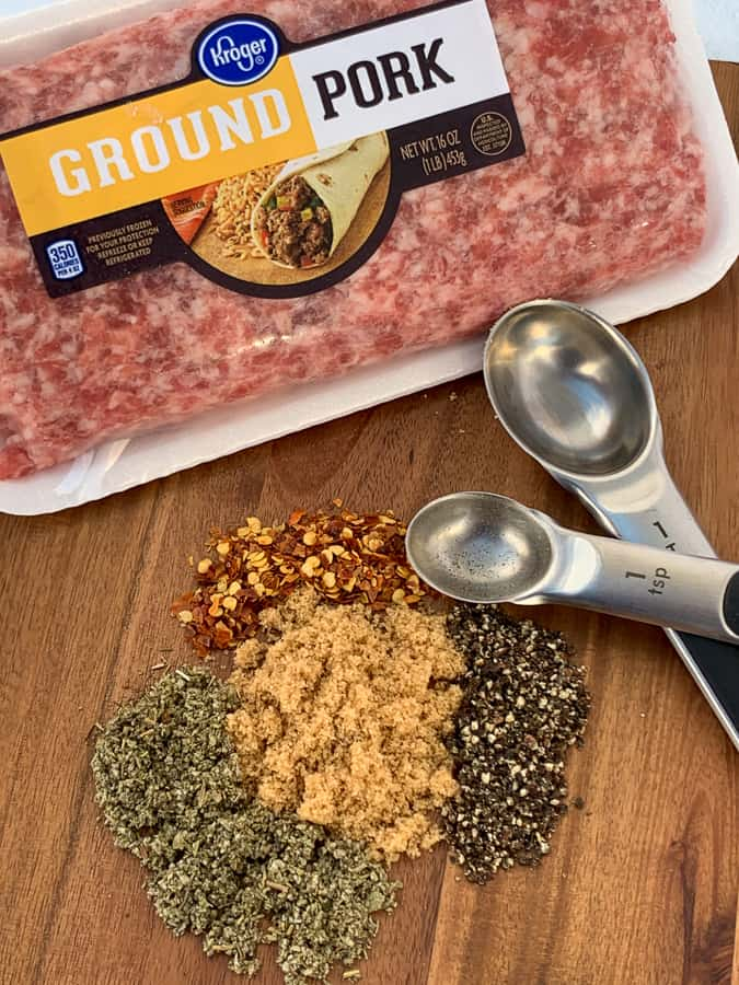 Ground pork and spices to make homemade breakfast sausage