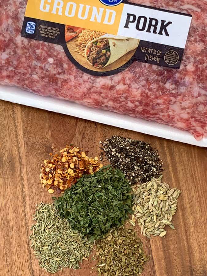 Ground pork with homemade sausage seasonings