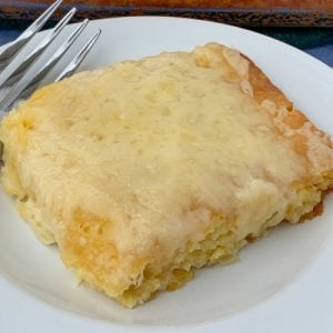 Swiss cheese on top of sweet corn spoon bread