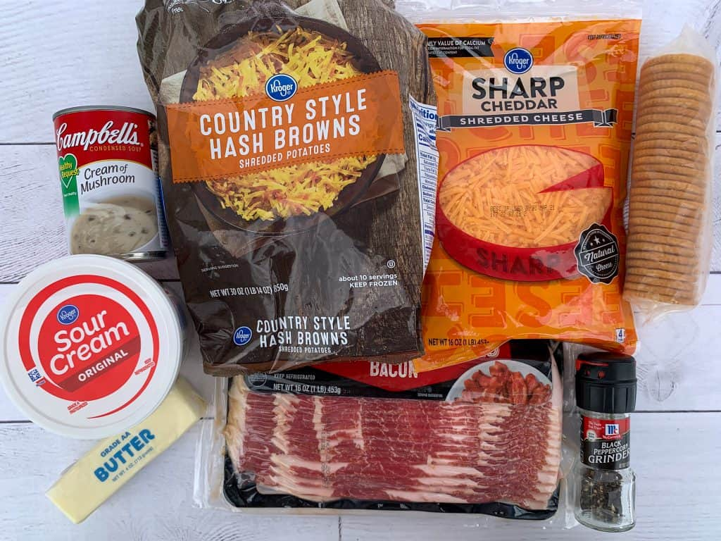 Ingredients to make cheesy bacon potato casserole